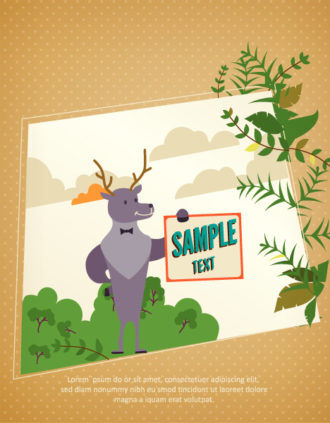 Vector background illustration with deer, leaves, clouds and paper Vector Illustrations urban
