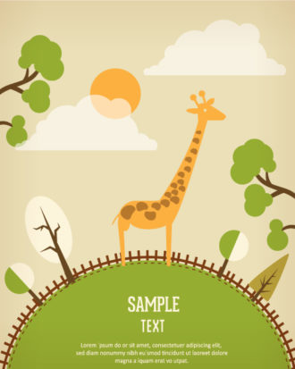 Vector background illustration with giraffe Vector Illustrations urban