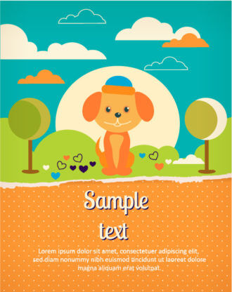 Vector background illustration with dog and torn paper Vector Illustrations tree
