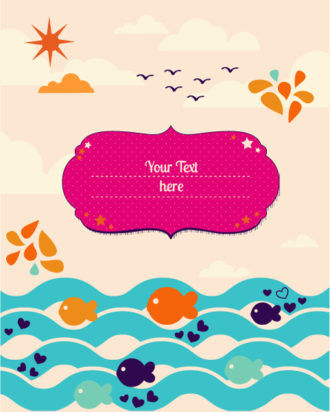 Vector background illustration with fish, frame, clouds,and sun Vector Illustrations urban
