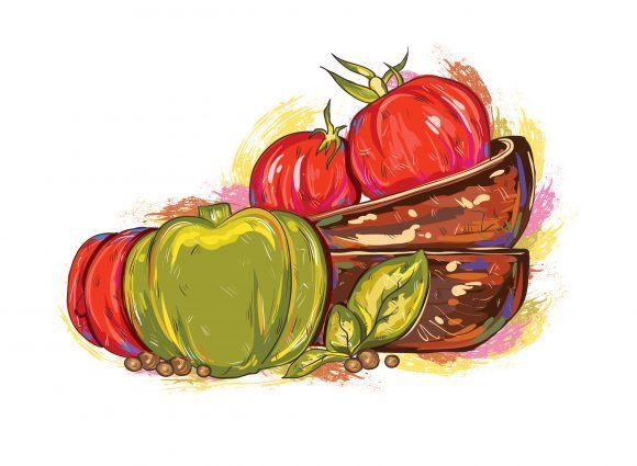 vector vintage background with vegetables Vector Illustrations old