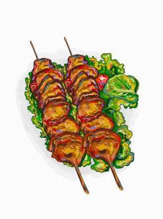 vector chicken shish kebab illustration Vector Illustrations leaves