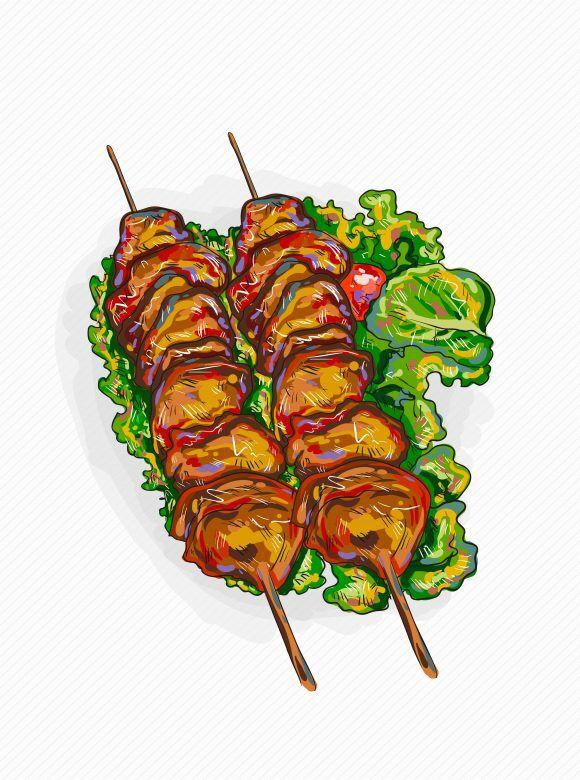 vector chicken shish kebab illustration Vector Illustrations leaves