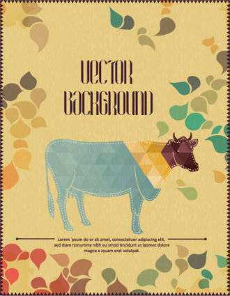 Vector background illustration with cow Vector Illustrations urban