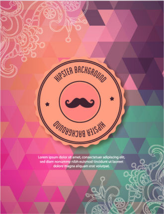 Vector background illustration with hipster badge and floral doodle ornaments Vector Illustrations urban
