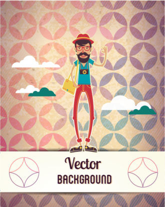 Vector background illustration with hipster man and cloud Vector Illustrations urban