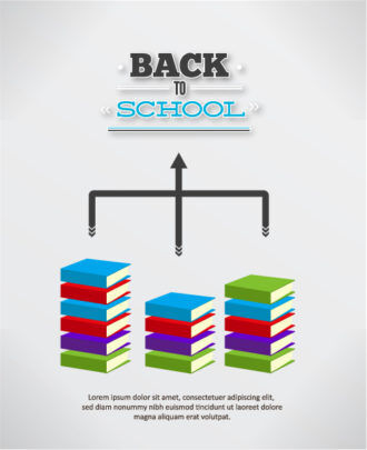 Back to school vector illustration with school books Vector Illustrations vector