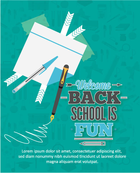 Back to school vector illustration with postit,pen and pencil Vector Illustrations vector