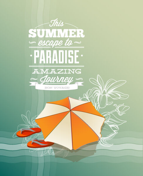 Summer Vector  Illustration with slippers and umbrella Vector Illustrations palm