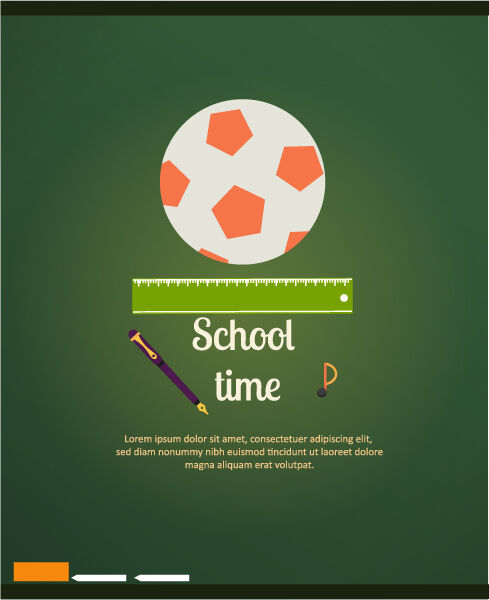 Back to school vector illustration with pen,ruler and ball Vector Illustrations ball