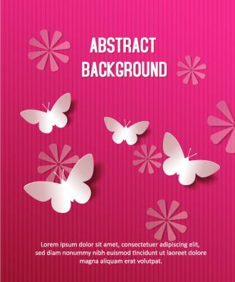 3D abstract vector illustration with butterflies and flowers Vector Illustrations urban