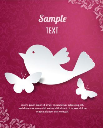 3D abstract vector illustration with butterflies and flower Vector Illustrations urban