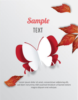 3D abstract vector illustration with butterflies and leaves Vector Illustrations urban