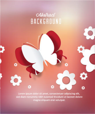 3D abstract vector illustration with abstract sticker butterfly and flowers Vector Illustrations urban