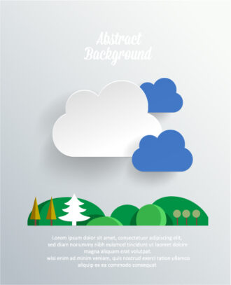 3D abstract vector illustration with clouds , trees, birds Vector Illustrations urban