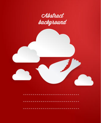 3D abstract vector illustration with clouds and birds Vector Illustrations urban