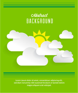 3D abstract vector illustration with clouds and sun Vector Illustrations urban