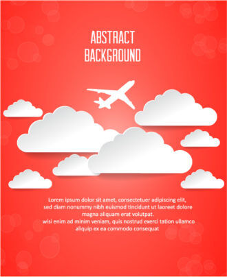 3D abstract vector illustration with clouds and air plane Vector Illustrations urban
