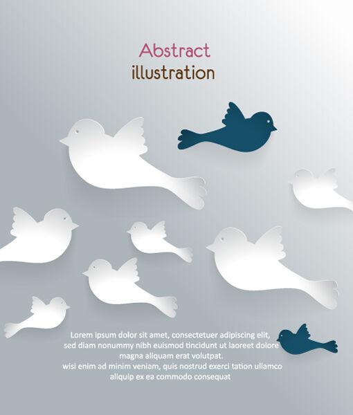 3D abstract vector illustration with bird Vector Illustrations urban