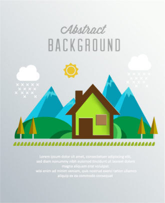 3D abstract vector illustration with paper house and trees Vector Illustrations urban