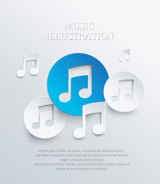 3D abstract vector illustration with musical notes Vector Illustrations urban