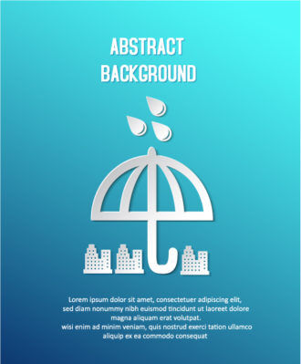3D abstract vector illustration with abstract buildings and umbrella Vector Illustrations urban