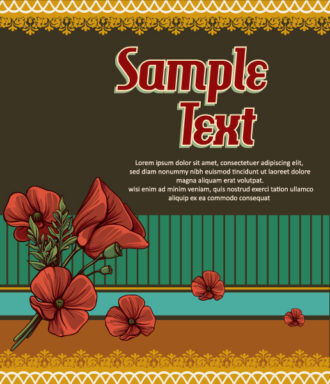 retro vector floral background with retro elements Vector Illustrations summer