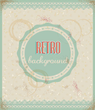 retro vector floral background with retro badge Vector Illustrations summer