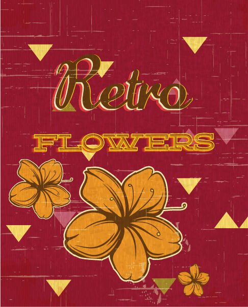 retro vector floral background with flowers Vector Illustrations summer