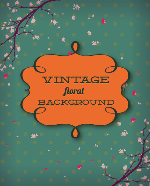 retro vector floral background with retro text and frame Vector Illustrations summer