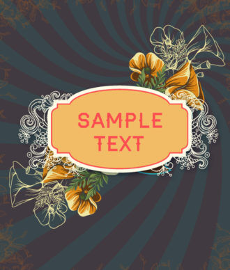 retro vector floral background with retro text, flowers and frame Vector Illustrations summer
