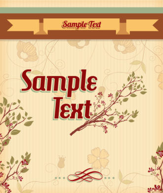retro vector floral background with retro text, flowers and ribbon Vector Illustrations summer