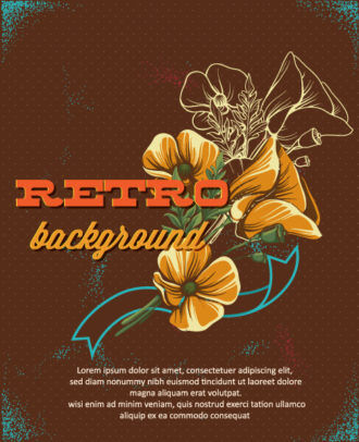 retro vector floral background with spring flowers and retro text Vector Illustrations summer