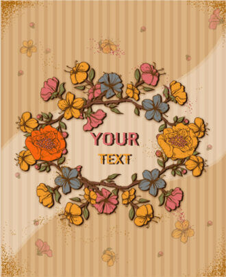 retro vector floral background with spring flowers frame Vector Illustrations summer