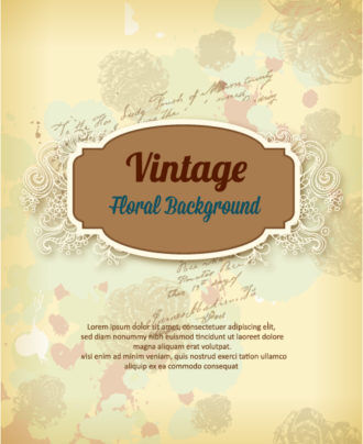 vintage vector illustration with spring flowers and frame Vector Illustrations old