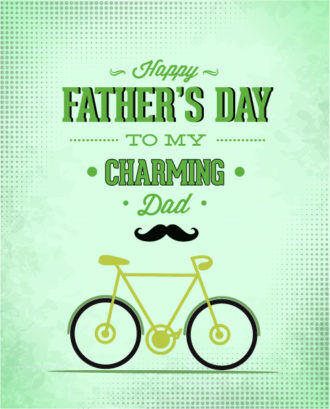 Father's Day vector illustration with vintage retro type font, bike Vector Illustrations old