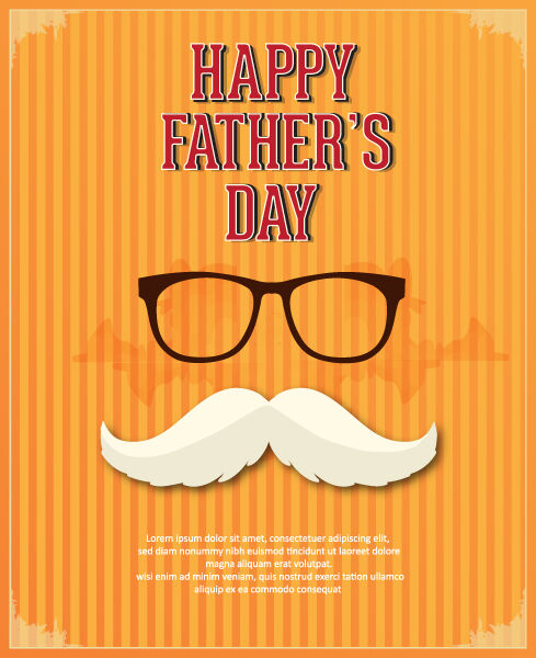 Father's Day vector illustration with vintage retro type font,glasses, moustache Vector Illustrations old