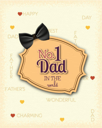 Father's Day vector illustration with vintage retro type font,bow, frame Vector Illustrations old
