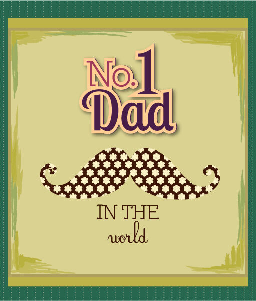 Father's Day vector illustration with vintage retro type font,moustache Vector Illustrations old