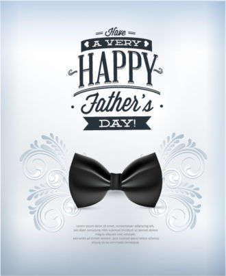 Father's Day vector illustration with vintage retro type font,flowers, bow Vector Illustrations old