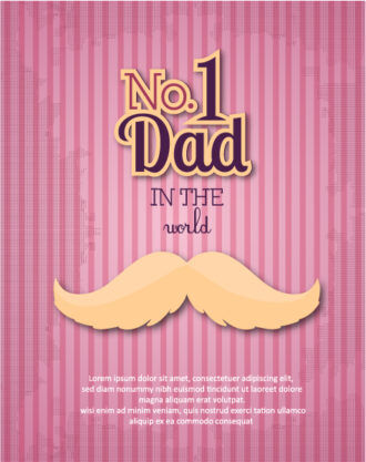 Father's Day vector illustration with vintage retro type font, moustache Vector Illustrations old