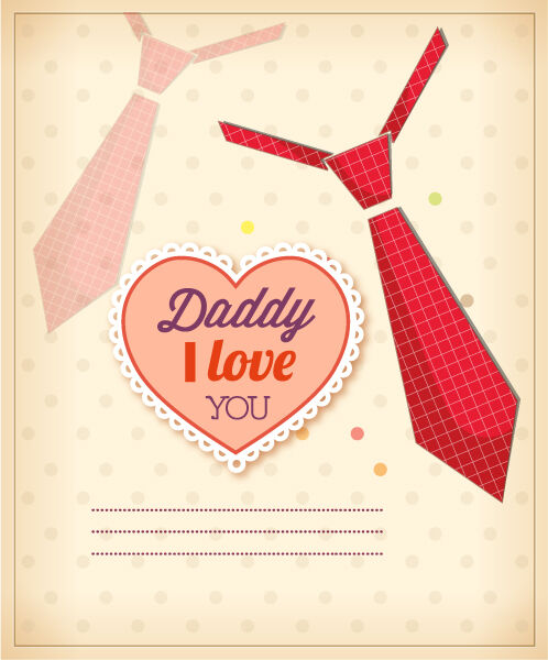 Father's Day vector illustration with vintage retro type font, heart, tie Vector Illustrations old