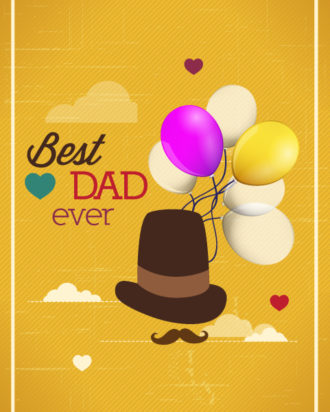 Father's Day vector illustration with vintage retro type font, hat, balloons, clouds Vector Illustrations old