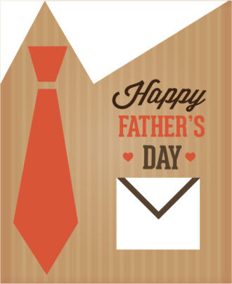 Father's Day vector illustration with vintage retro type font,pocket, tie Vector Illustrations old