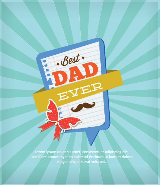 Father's Day vector illustration with vintage retro type font,rays, frame, butterfly Vector Illustrations old