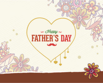 Father's Day vector illustration with vintage retro type font, heart Vector Illustrations old