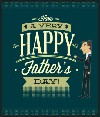 Father's Day vector illustration with vintage retro type font, people, Vector Illustrations old