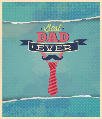 Father's Day vector illustration with vintage retro type font,tie Vector Illustrations old