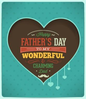 Father's Day vector illustration with vintage retro type font,ribbon, heart Vector Illustrations old