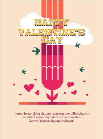 Happy  Valentine's Day Vector illustration with  heart and flower Vector Illustrations vector